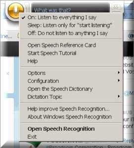 Speech Listening Menu